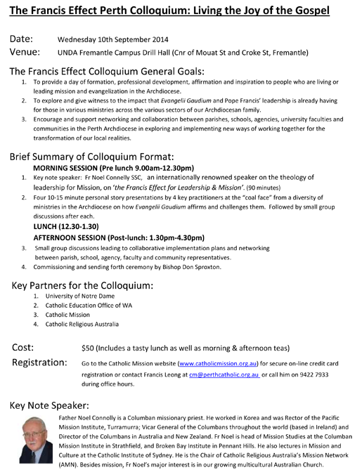 Programme outline of Perth Francis Effect Colloquium