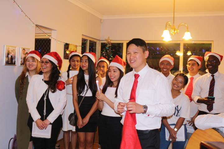 Bentley Youth Christmas Caroling friends having fun together 2017