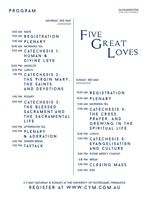 Sacramentum Young Adults Conference Five Great Loves 2020 Program